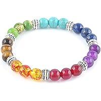 ERAWAN Men Women 7 Chakra Mixed Gemstone Healing Chakra Pray Mala Bracelet Jewelry EW sakcharn
