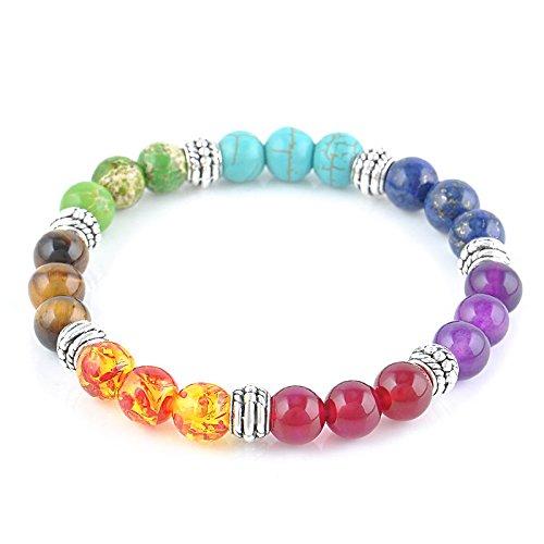 Jade Lapis Earrings (ERAWAN Men Women 7 Chakra Mixed Gemstone Healing Chakra Pray Mala Bracelet Jewelry EW sakcharn)