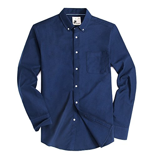 Alex Vando Mens Regular Fit Oxford Casual Button Down Shirts (Navy,XXLarge)