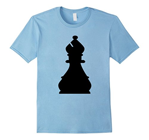 Mens Chess Piece Group Costume Shirt - BISHOP (black) Large Baby Blue (Halloween Contest For Workplace)
