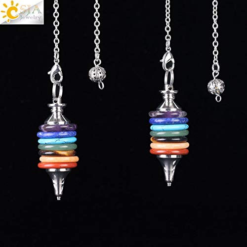 (Natural Stone Pendulum Pendant | Wheels of Life Gems 7 Chakra Pendulums | Men Women Gift)