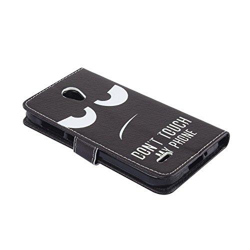 Lusee® PU Caso de cuero sintético Funda para Alcatel Onetouch Go Play / 7048X 5.0 pulgada Cubierta con funda de silicona negro Dont touch my phone