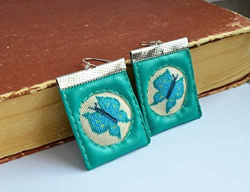 Butterfly jade earrings, Faux leather earrings, Fabric jewelry, Embroidered earrings, Girl gift, Hand embroidered gift, Butterfly jewelry