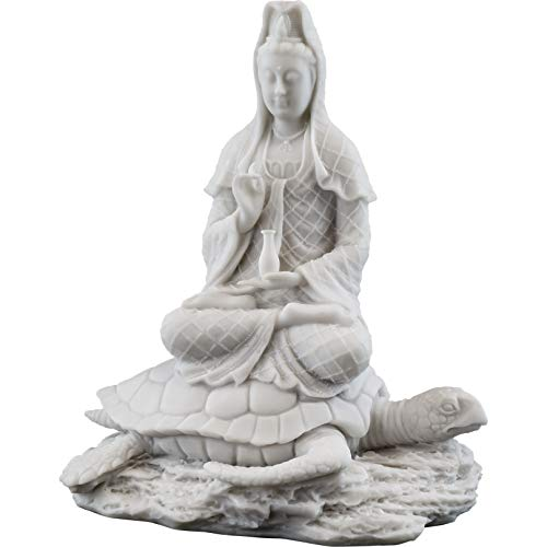(Top Collection Quan Yin Rising from The Sea Statue - Kwan Yin Goddess of Mercy and Compassion Sculpture in White Marble Finish - 6.5-Inch Guan Yin on Sea Turtle Collectible Buddhist Figurine)