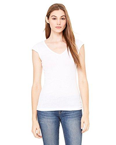 Bella + Canvas Ladies Sheer Mini Rib Cap-Sleeve Deep V-Neck T-Shirt - WHITE - 2XL - (Style # B8705 - Original Label)
