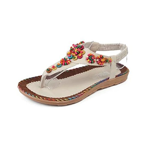 's Verano Beach Shoes de Zapatos a Blanco Señoras Shoes la Moda separadores Sandals Sandals Casual 42 Women 36 Diseñado Talla Ladies' de de Bohemia Dedos 05IqzI