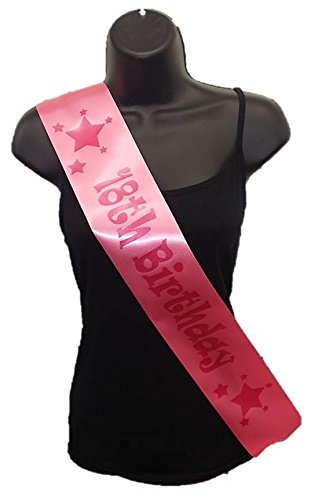Birthday Party Satin Ribbon Sash - Age 18 Pink Stars by Cards Galore Online (Galore Pink Ribbon)