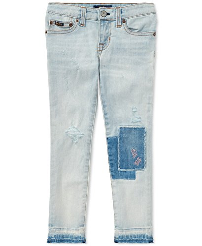 RALPH LAUREN Polo Girls Distressed Patch Embdoidered Jeans (12)