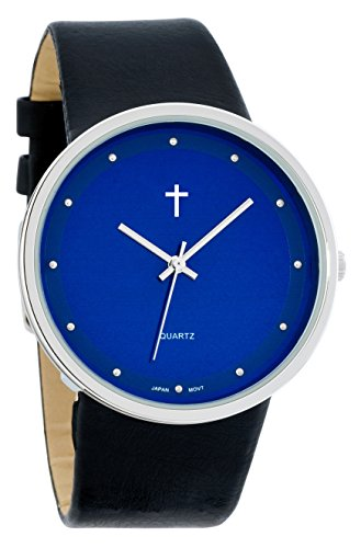 Belief Women's | Silver-Tone and Black Blue Face Watch with Cross | BF9658BK
