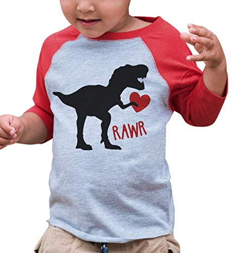 7 ate 9 Apparel Kids Dinosaur Happy Valentine's Day 5T Red Raglan -