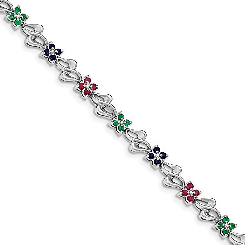 FB Jewels Solid 925 Sterling Silver Rhodium-Plated and Sapphire, Ruby, Emerald - Emerald Sapphire Bracelet Ruby