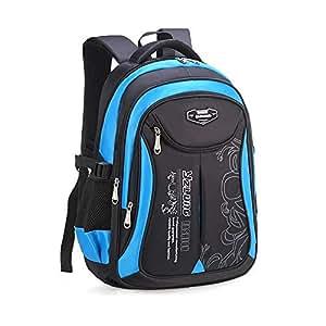 Travel Sports Shoulder Backpack Hiking waterproof Zipper Laptop Bag school Bag Small Black - Blue