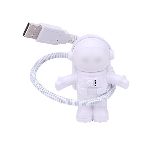 Flexible Astronaut USB LED Reading Light Bulb Energy Saving White Night Light Lamp Accessory for Laptop Desktop Computer PC Novelty Item Best for Gifts Presents