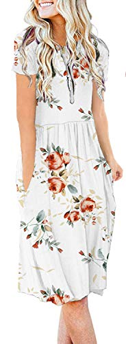 AUSELILY Spaghetti Strap Summer Dresses for Women Sexy Floral Beach Bikini Swimwear Cover up Floral(S,Rose White)