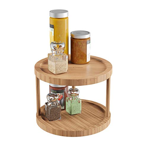 Home Classic Cuisine Lazy Susan - All-Natural Bamboo Round Two Tier Turntable Kitchen, Pantry and Vanity Organizer and Display with 10 Inch Diameter