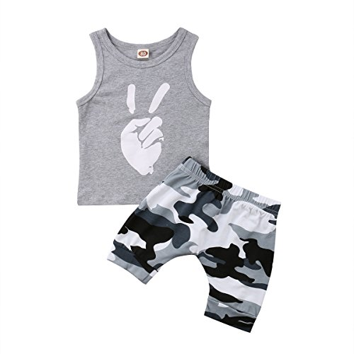 Toddler Baby Boy Kids Sleeveless Vest T-Shirt Top Pants 2Pcs Outfit Clothes Set (Grey, 1-2Y)