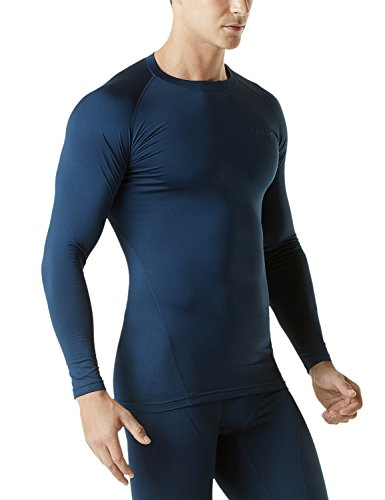 TSLA Men's Thermal Wintergear Compression Baselayer Long Sleeve Top, Thermal Athletic(yud34) - Navy, XX-Large