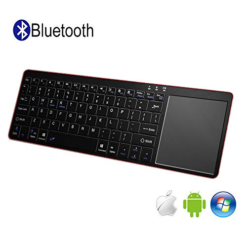 Alitoo Wireless Bluetooth Keyboard with Built-in Multi-Touch Large Size Mouse Touchpad,Ergonomic Ultra-Slim Portable Keyboard for iOS Android and Windows Device (Black and Red)(Battery not Included)