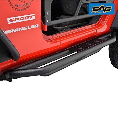 EAG Side Steps Armor for 07-18 Jeep Wrangler JK 2 Door Rock Sliders Nerf Bars Running Board Rail ()