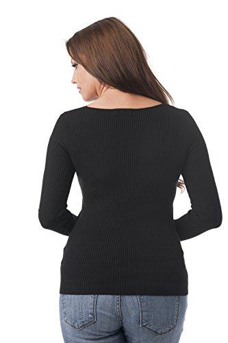 Suéter acanalado de manga larga, de cuello de pico negro