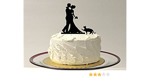 Amazon Bouquet Silhouette Wedding Cake Topper AND Pet CAT Bride Groom And Cat For Kitchen Dining