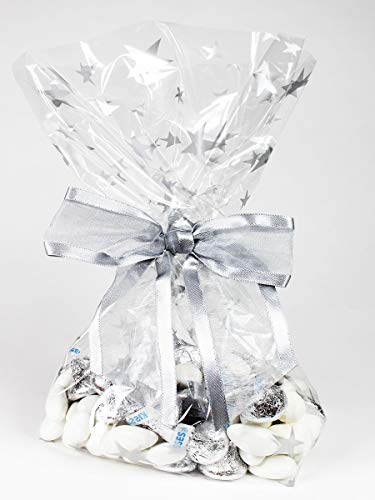 Saybrook Products Silver Stars Cellophane Treat/Party Favor