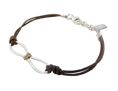 Infinity Symbol Bracelet - American Made Sterling Silver on Leather, Adjustable Size