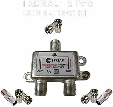 Divisor de Antena TV 1 TO 2 de conectores KIT profesional
