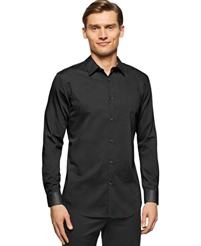 Calvin Klein Mens Slim-Fit Plaid Short-SLE Black XXL (Calvin Klein Mens Dress Shirt Xxl)