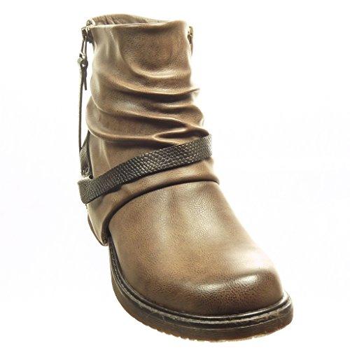 boots Angkorly Block snakeskin cavalier Heel 4 zip Booty Ankle Khaki biker Women's Fashion buckle Shoes CM IqarI