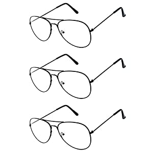 Aviator Clear Lens Black Metal Sunglasses Men's Women's Non-Prescription OWL