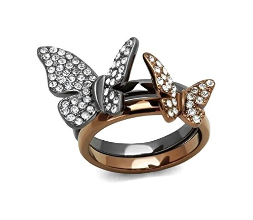 ATLJewelry 16.4 mm Butterfly Stack ring designer fashion Brilliant cut Stainless Steel Brilliant Cut Butterfly Ring