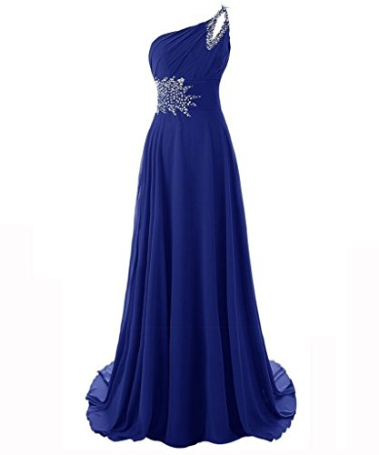 Snowskite Women's One Shoulder Long Chiffon Beading Bridesmaid Prom Dress Royal Blue 14