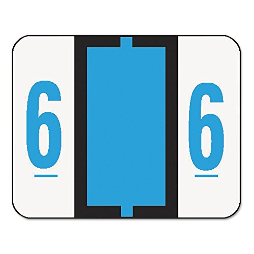 Smead 67376 Single Digit End Tab Labels Number 6 Blue 500/Roll ()