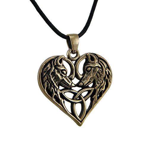 Pewter Womens Pendant Necklaces Celtic Weave Heart Wolf Lovers Bronze Finish Pewter Pendant Necklace Bronze Brown Celtic Pendant