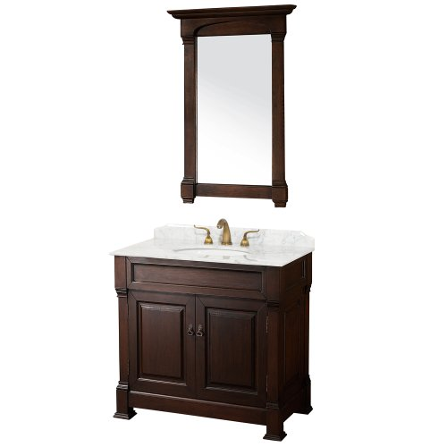 Wyndham Collection Andover 36 inch Single Bathroom Vanity in Dark Cherry, White Carrera Marble Countertop, White Undermount Round Sink, and 28 inch Mirror