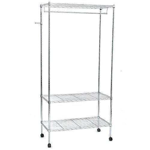 Mefeir Silver Rolling Garment Rack with 3 Adjustable Shleves