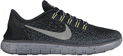 Nike Mens Free Rn Distance Shield Scarpe Da Corsa Nero / Argento Metallizzato / Grigio Scuro / Invisibile