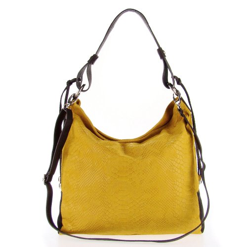 (STUDIOMODA Italian Made Mustard Yellow Snakeskin Embossed Leather Large Designer Carryall Hobo Bag)