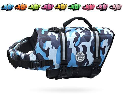 VIVAGLORY Reflective Dog Life Jacket, Ripstop & Adjustable Life Vest with Enhanced Buoyancy & Rescue Handle, Camo Blue, Large