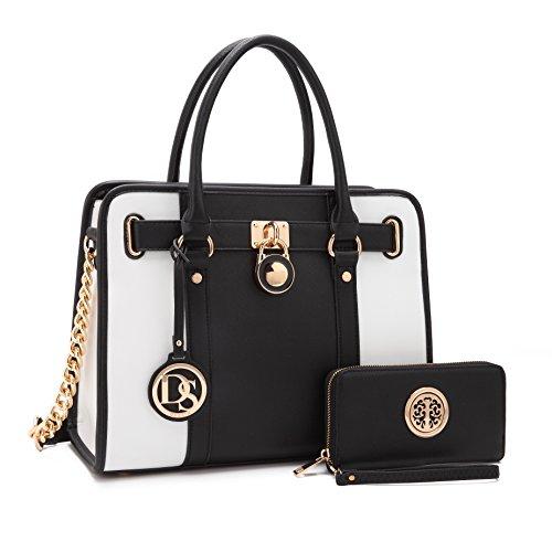 - Multi Pockets Satchel for Women, Large Designer Lady Purse Laptop Tablet Bag Hot Gift 7103W BK/WT