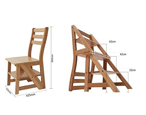Solid wood dining chairs, green wood stools, multi-purpose folding ladder, folding chairs, ladder stool