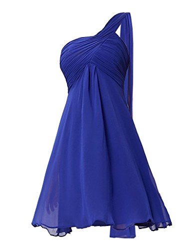Blue Chiffon Dress for Shoulder One Fanciest Bridesmaid Royal Damen Weddings Lavender Kurz q4PtU