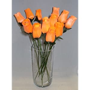 2 Dozen (24) Hand Crafted Birch Wood Wooden Closed Tea Bud Roses for Weddings, Party Favors, All Occasion, Home Decor (Orange) 42