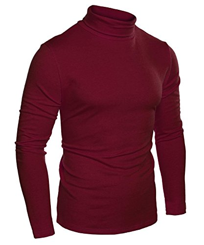 Long Sleeve Red Thermal Tee - JINIDU Mens Casual Basic Slim Fit Pullover Thermal Sweaters Wine Red