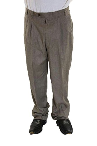 Pallesco Mens Triple Pleated Wool Dress Pants in Taupe, S...
