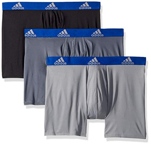 (adidas Men's Climalite Boxer Briefs Underwear (3-Pack), Onix/Collegiate Royal Black/Collegiate Royal Grey, Small)