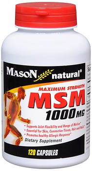 Mason Natural MSM 1000 mg Capsules Maximum Strength - 120ct, Pack of 4 by Mason Natural