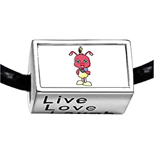 Chicforest Silver Plated Singing Lovely Ant Photo Live Love Laugh Charm Beads Fits Pandora Charm