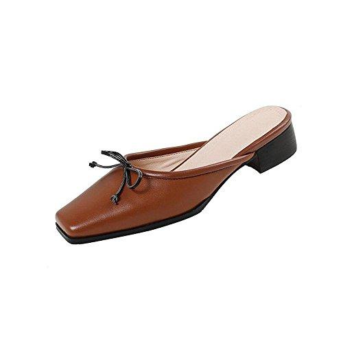 Pantofole Retro Testa Donna Air Pelle Dimensioni Baotou Bassi Scarpe Colore Casual Donna in Scarpe Caramel Spessi Tacchi 36 Quadrata da 4qxIwf5qnX